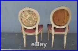 Paire chaises laquées crème style Louis XVI velours rose