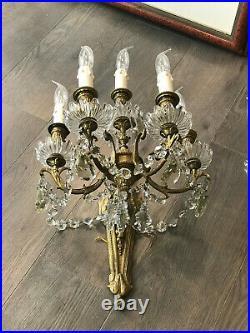 Paire d'Appliques Style Louis XVI En Bronze Doré Et Pampilles Cristal. XIXème