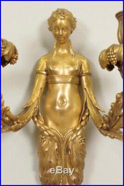 Paire d'appliques bronze doré style Louis XVI bustes