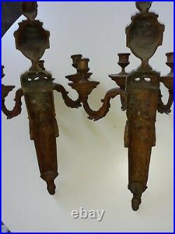 Paire d'appliques de style Louis XVI bronze doré à trois lumières XIX ème siècle
