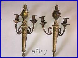 Paire d'appliques en bronze à trois feux de style Louis XVI Napoléon III