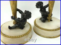 Paire de Bougeoir Amours & Carquois Bronze Doré & Double Patine Style Louis XVI
