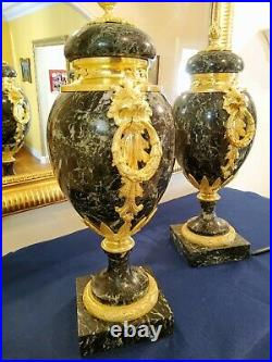 Paire de Cassolettes en Marbre vert Maurin et bronze doré Style Louis XVI