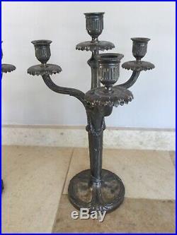 Paire de Chandeliers, Candélabres Gallia Style Louis XVI- Métal argenté