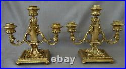 Paire de Chandeliers Candélabres Style Louis XVI en Bronze Doré XIXème