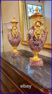 Paire de Vases d'ornement en Marbre et monture de Bonzes dorés Style louis XVI