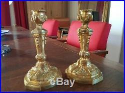 Paire de bougeoirs en bronze doré style LOUIS XVI èpoque XIX ème s