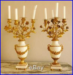 Paire de candélabres aux Bacchus en BRONZE DORE et MARBRE, style Louis XVI, XIXe