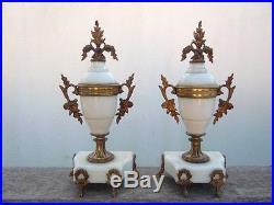 Paire de cassolettes marbre blanc bronze style louis XVI d'époque 19ème