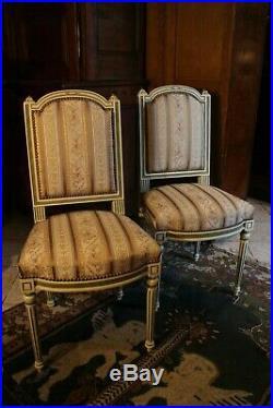 Paire de chaises de style Louis 16 double patine (possibilité bergère assortie)