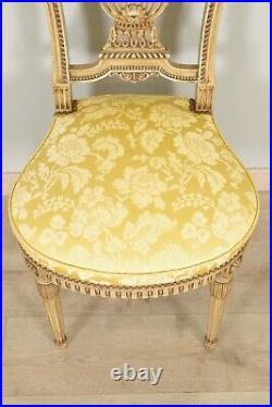 Paire de chaises style Louis XVI bois laqué