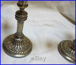 Paire de chandeliers 3 branches de style Louis 16 en bronze argenté 19 éme