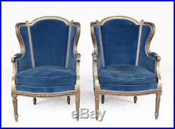 Paire de fauteuils bergères laqués dorés style Louis XVI époque 1900