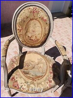 Paire de fauteuils style Louis XVI tapisserie Aubusson