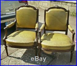 Paire de fauteuils style louis XVI 19eme