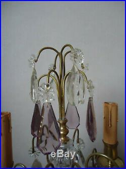 Paire de girandoles à pampilles monture laiton style Louis XVI