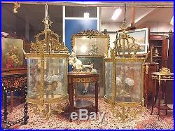 Paire de lanternes style Louis XVI bronze doré
