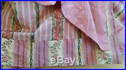 Paire de rideaux, tissus anciens, style Louis XVI, ton rose, 272x124 cm