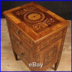 Paire de tables de chevets meubles style ancien Louis XVI en bois incrusté