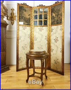 Paravent D'époque Napoléon III En Bois Doré Et Sculpté De Style Louis XVI