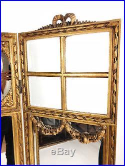Paravent Trois Feuilles Napoléon III En Bois Doré Et Miroité De Style Louis XVI