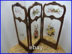 Paravent à 3 panneaux, double décor peint sur verre biseauté Style Louis XV XVI