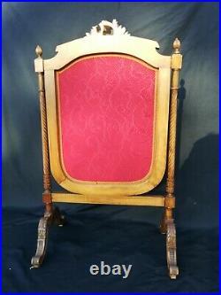 Pare Feu Ancien bois et tissu/style Louis XVI/cheminée Ancienne