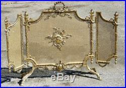 Pare Feu De Style Louis XVI à Trois Volets En Bronze Et Laiton, époque XX ème
