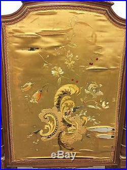 Pare-feu style Louis XVI noyer et soie époque 1900