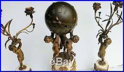 Pendule + Candelabres Bronze Sphere Angelots Style Louis XVI Modele De Bernoux