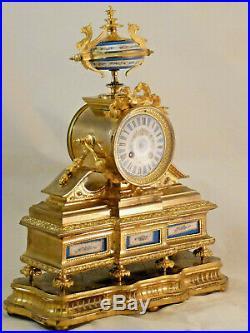 Pendule De Style Louis XVI En Bronze Doré Et Porcelaine clock uhr reloj