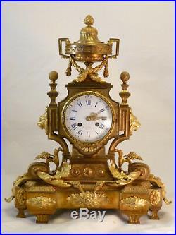 Pendule Style Louis XVI En Bronze Doré clock uhr reloj qualité Barbedienne