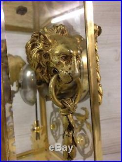 Pendule cage Style Louis XVI ancienne en Bronze et vitres Biseautées