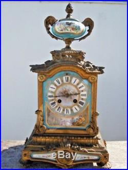 Pendule cartel bronze porcelaine Sevres d'époque 19eme clock style louis XVI