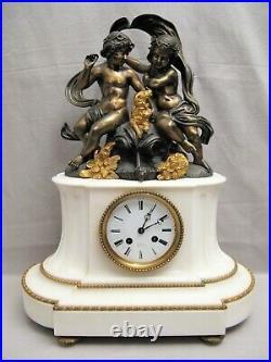 Pendule de style Louis XVI bronze et marbre aux amours et chien XIX ème siècle