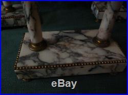 Pendule horloge portique marbre et ses bougeoirs xix ems style louis xvi