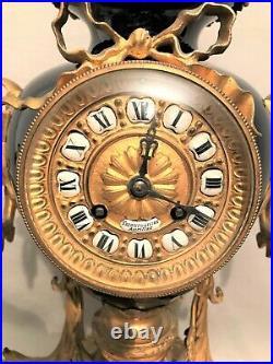 Pendule style Louis XVI bronze doré et porcelaine bleu de Sèvres époque XIX