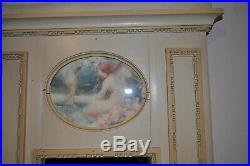Petit Miroir Trumeau Ancien En Bois peint Laqué De Style Louis XVI époque 19ème