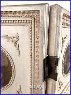 Petit paravent de style Louis XVI à trois feuilles