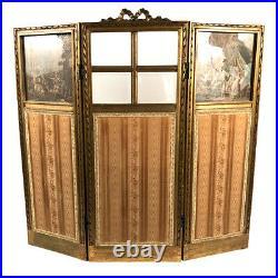 Petit paravent de style Louis XVI, bois doré