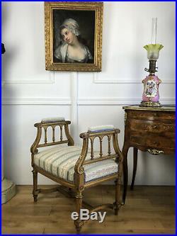 Petite Banquette En Bois Sculpté Et Doré Epoque Napoleon III De Style Louis XVI
