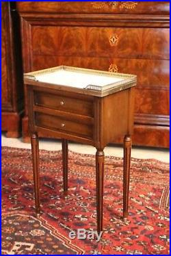 Petite commode chiffonnière chevet 2 tiroirs merisier mabre style Louis 16