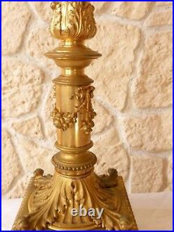 Pique cierge en bronze/laiton doré colonne corinthienne de style Louis XVI n714
