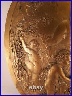 Plaque décorative cuivre doré XVIII XIX ème style Léopold Oudry Clodion