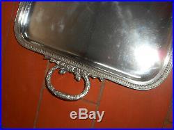 Plateau ancien en métal argenté de style Louis XVI
