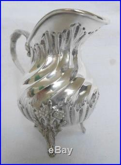 Pot à lait / crème en ARGENT MASSIF de style Louis XVI Rocaille, poinçon MINERVE