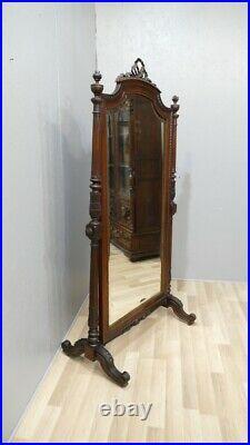 Psyché, Miroir En Pied De Dressing En Noyer Massif Style Louis XVI Daté 1889