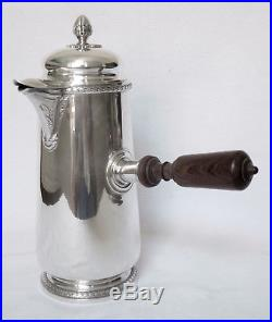 RAVINET & CIE Chocolatière de style Louis XVI en ARGENT MASSIF, POINCON MINERVE