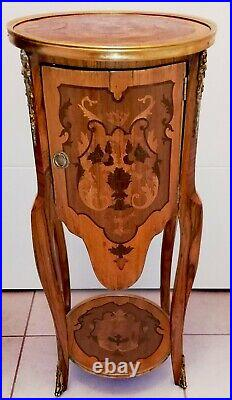 Rare Meuble Guéridon En Marqueterie De Style Louis XVI LIVRAISON POSSIBLE
