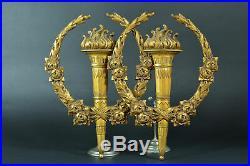 Rare Paire de grands parements 19E Bronze doré style Louis XVI torches roses